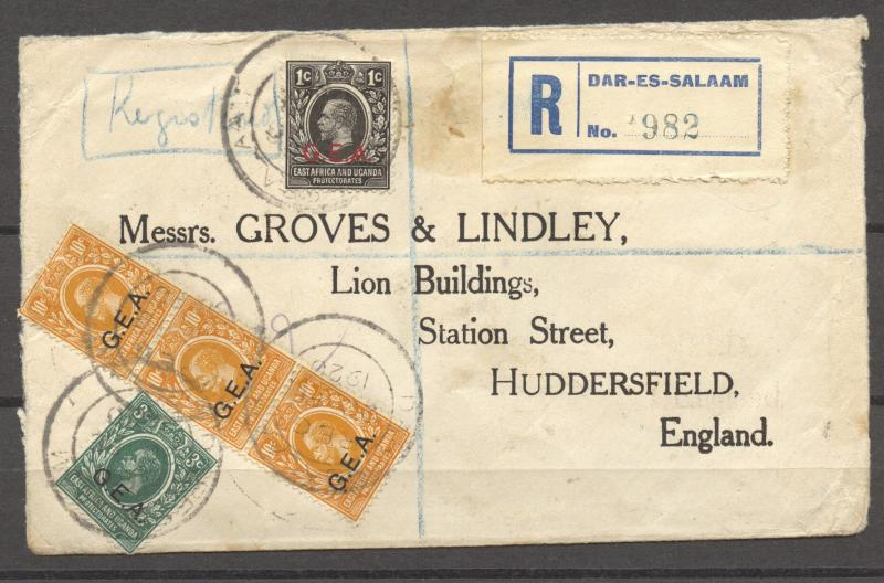 German East Africa, British Occupation, 1920 R-Cover to Huddersfield, England