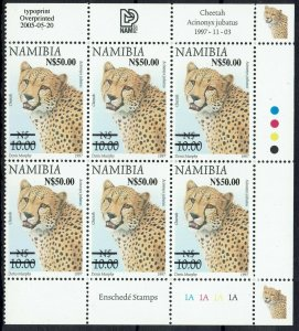 NAMIBIA 2005 CHEETAH N$50 ON $5 MNH ** CONTROL BLOCK
