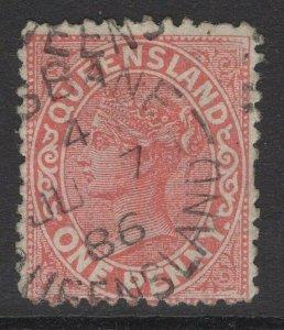 QUEENSLAND SG179 1887 1d VERMILION-RED USED