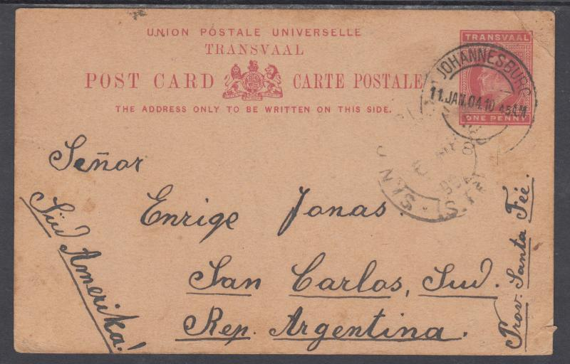 Transvaal H&G 12 used 1902 1p Postal Card, Johannesburg to Argentina