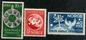 Norway SC# 299-301 UPU Anniv set MNH