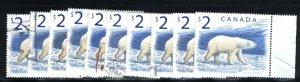 Canada #1690   10 Polar Bears used VF 1998  PD