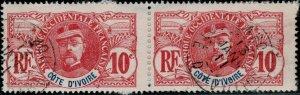 CÔTE-D'IVOIRE - 1907 CàD LAHOU / CÔTE-D'IVOIRE  sur paire Yv.25 10c Faidherbe