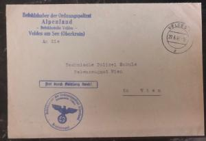 1942 Bled Slovenia Germany Cover SS Feldpost To Technical Police Vienna