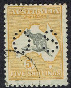 AUSTRALIA 1929 KANGAROO OS 5/- SMALL MULTI WMK USED
