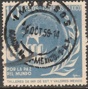 MEXICO 818, $10P Honoring the United Nations. USED. VF. (975)