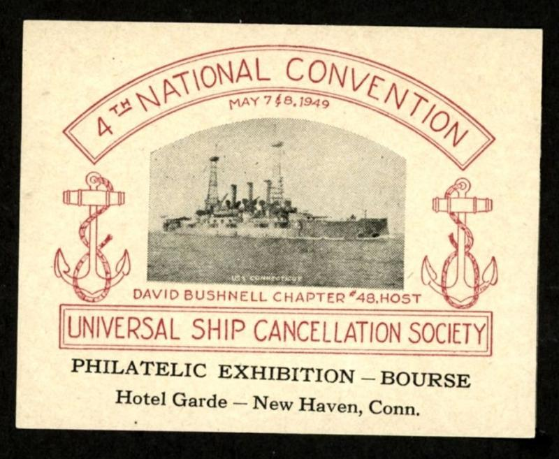 1949 UNIVERSAL SHIP CANCELLATION SOCIETY Exhibition 75mm X 59mm