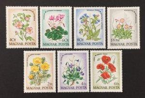 Hungary 1973, #2240-6, Flower's, MNH.