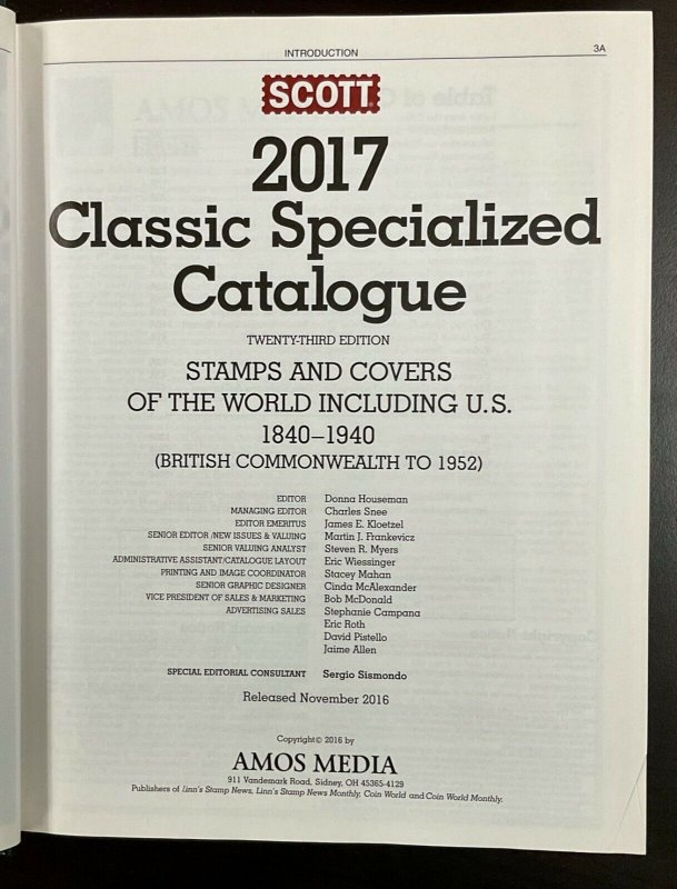 2017 Scott Classic Specialized Catalogue of Stamps & Cover 1840-1940