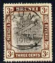 Brunei 1907-10 River Scene 3c grey-black & chocolate ...