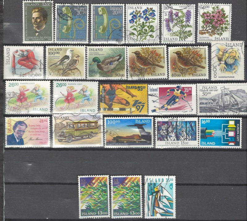 COLLECTION LOT # 2528 ICELAND 25 STAMPS 1984+ CV+$20 CLEARANCE