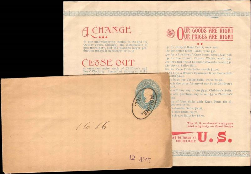 1800's MOLINE ILLINOIS ONE CENT DROP LETTER WITH CONTENTS FROM CLOTHING COMPANY