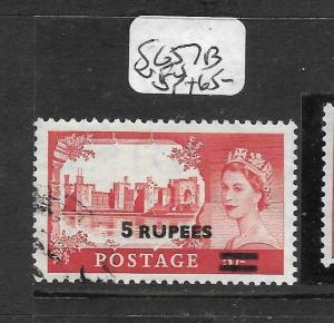 BRITISH P.O. IN EASTERN ARABIA (P1002B) ON GB QEII 5R/5/-  SG 57B  VFU