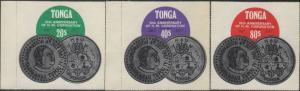Tonga official 1977 SGO154-O156 Tenth Anniversary of King's Coronation s...