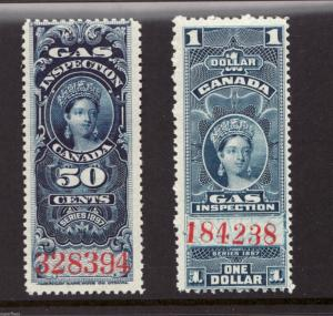 Canada Victorian Revenue 50c FG19 - $1 FG22 MNH Gas Inspection Stamps c1897