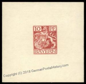 Germany Bavaria Bayern Small Die Essay Proof Stamp 70685