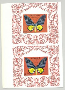 Nagaland (Propaganda) 1969 Butterflies 1v Imperf Proof Pair