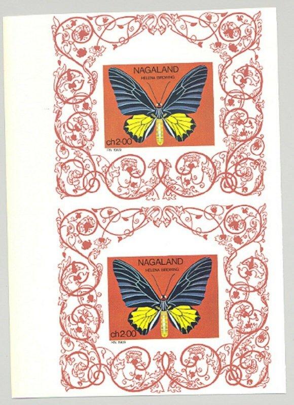 Nagaland (Propaganda) 1969 Butterflies 1v Imperf Proof Pair