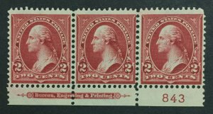 MOMEN: US #279B PLATE STRIP MINT OG **NH** POST OFFICE FRESH #31133