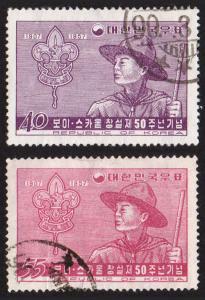 Korea (South) #245-246 set/2 mh-hr - 1957 Boy Scout anniversary
