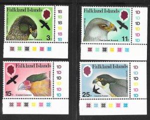 Falkland Islands 306-309: Raptors, ERROR watermarks, MNH, VF