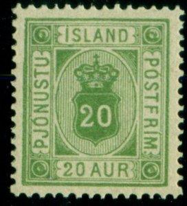 ICELAND #O8 (Tj8) 20aur green, og, NH, XF