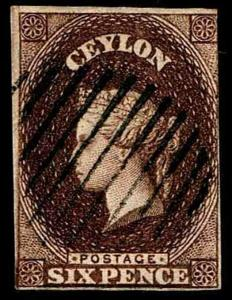 1857 Ceylon #7 Queen Victoria Watermark 6 - USED - F/VF - CV$575.00 (ESP#3545)