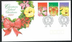 Christmas Is. Flowering Trees Christmas 3v issue 1998 FDC SG#463-465