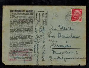 1941 Germany Auschwitz Concentration Camp Cover KZ Eduard Pys to Rzeczow