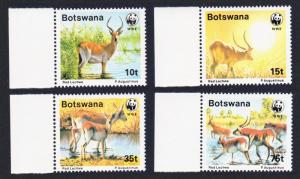 Botswana WWF Red Lechwe 4v with left margins SG#648-651 MI#431-434 SC#432-435