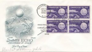United States sc# 1173 FDC - Block of 4 - Satellite ECHO 1 - Artmaster
