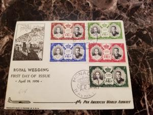 1956 Monaco First Day Cover FDC Royal Wedding PAA Pan American World Airways