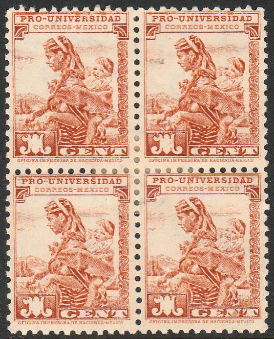 MEXICO RA13B, 1cent, UNIVERSITY ISSUE.BLOCK OF FOUR. F-VF. Mint, NH.