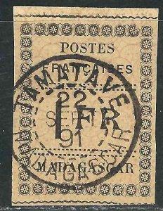 Madagascar 12 Y&T 12 SOTN Tamatave Cds F/VF 1891 SCV $300.00