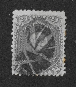 78b Used. 24c. Washington, Gray, fancy Cancel, scv: $450
