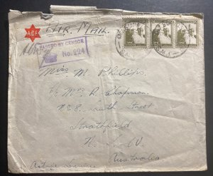 1942 Supply HQ Palestine Censored Airmail Cover To Strathfield Australia