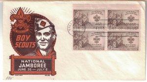 #995 FDC, 3c Boy Scouts of America, CC/Boll cachet, block of 4