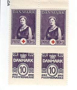 Denmark, 230b, Wavy Lines & Numeral, Bklt.Pane (4), MNH