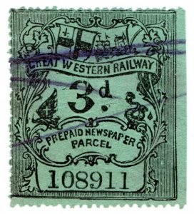 (I.B) Great Western Railway : Prepaid Newspaper Parcel 3d