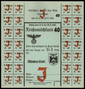 3rd Reich Germany 1942 Munich Milk Ration Card for Jewish Person 96256