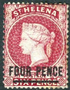 ST HELENA-1964-80 4d Carmine Perf 14x12½.  A lightly mounted mint example Sg 24