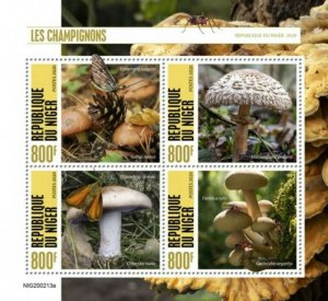 Niger - 2020 Mushrooms and Insects - 4 Stamp Sheet - NIG200213a