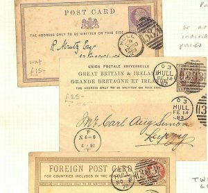 GB QV *Hull* Stationery Cards{3} EARLY PERFIN 1877 PENNY FARTHING 1883 UPU AF183