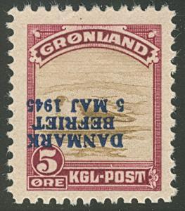 GREENLAND #20v (20v) 5ore Harp Seal, INVERTED OVPT, og, NH, VF, Facit $1,440.00