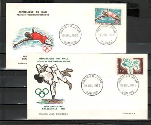Mali, Scott cat. 81-82. African Games-Judo issue. 2 First day cover. ^