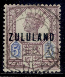 SOUTH AFRICA - Zululand QV SG7, 5d dull purple & blue, FINE USED. Cat £120.