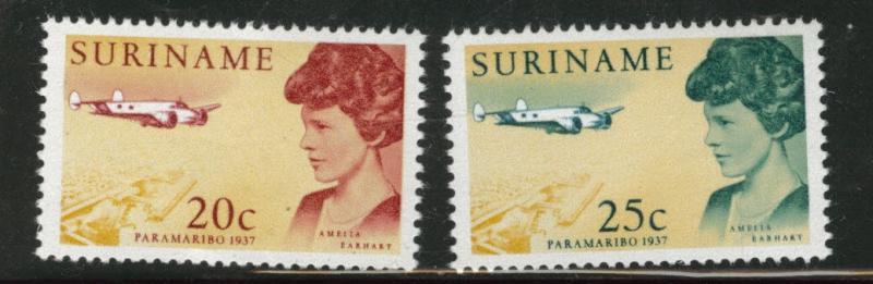 Suriname Scott 345-346 MH* 1967 Amelia Earhart set
