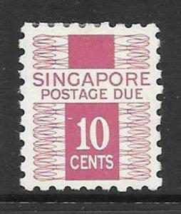 SINGAPORE SGD5 1968 10c MEGENTA POSTAGE DUE MNH