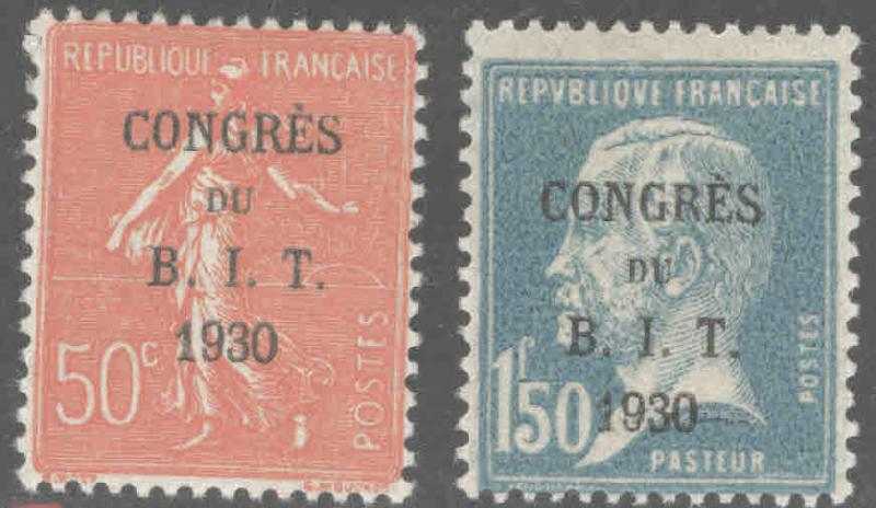 FRANCE Scott 256-257 MH* 1930 Congress B.I.T. overprint set CV$23