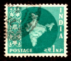 India 1np Map of India 1960 SG.399, Sc.302 Used (#02)